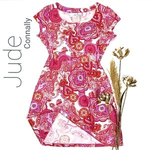 💥 Jude Connally 💥 Red White Pink Floral Dress M